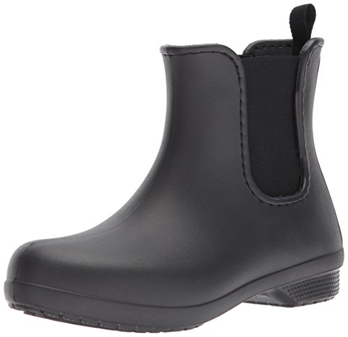 Crocs Women's Freesail Chelsea Rain Boot, Black/Black, 8 M US