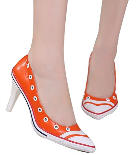CAMSSOO Women's Special Pointy Toe Slip On Stiletto Pumps Mid High Heels Shoes Soft PU orange soft PU bc6UOlbBr