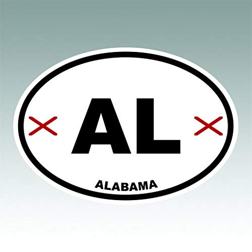 RDW Alabama State Flag Oval Sticker Premium Decal Die Cut AL Alabama Oval Sticker Decal