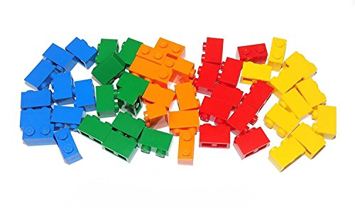 LEGO Parts and Pieces: Assorted 1x2 Bricks (Blue, Green, Orange, Red, Yellow) - 50 Pieces (Lego Bricks Assorted)