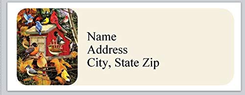 (120 Personalized Return Address Labels Beautiful Colorful Birds Near Birdhouse (bx 822))