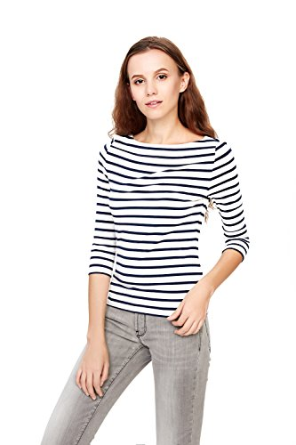 HIYIN Womens Slim Fit 3/4 Sleeve T Shirt Boat Neckline Striped Hug Curves Casual Tee Tops(X-Large,Navy)