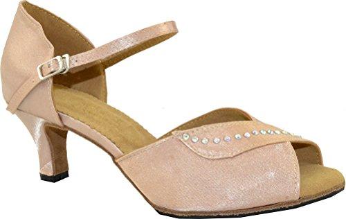 Salsa Latin Féminin Cha-cha Talon Bas Peep-toe Satin Professionnel Dance-shoes Peau