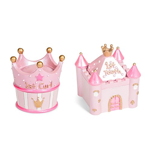 Pink Castle First Tooth and Curl 2 x 2.5 Inch Handpainted Resin Keepsake Box 2 Piece Set