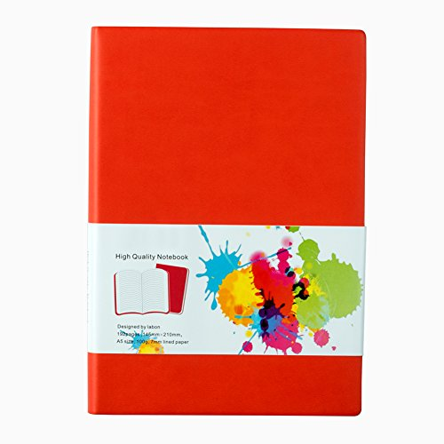 LABON'S Journal Notebook A4/A5/A6/ Ruled Diary Colored Edges PU Leather Softcover (A4,Orange)