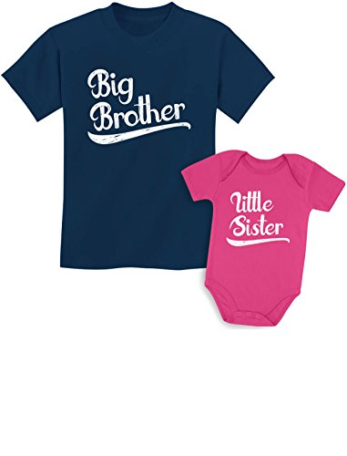 Tstars Sibling Shirts Set for Brothers and Sisters Boys & Girls Gift Set Kids Shirt Navy/Baby Wow Pink Kids Shirt 2T/Baby Newborn