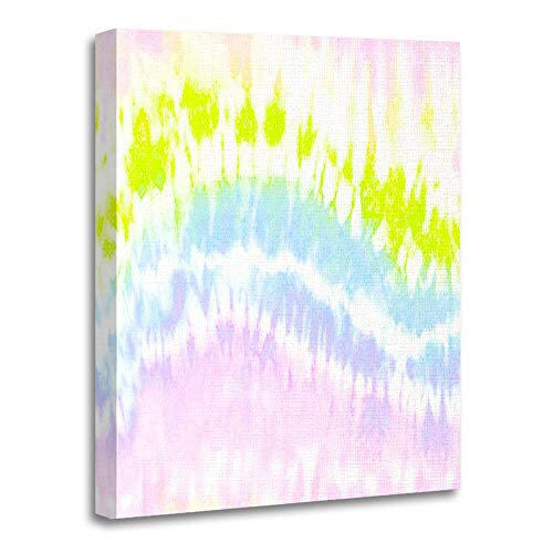 Emvency Painting Canvas Print Artwork Decorative Print Wooden Frame Pink Batik Rainbow Ink Tie Dye Washed Purple Stripe All Over Bleached Colourful 12x16 Inches Wall Art for Home Decor for $<!--$25.80-->