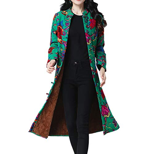 JOFOW Womens Shirt Jacket Long Cardigans Flowers Painting Print Ethnic Vintage Fleece Lined Warm Loose Coats Plus Size (3XL ()
