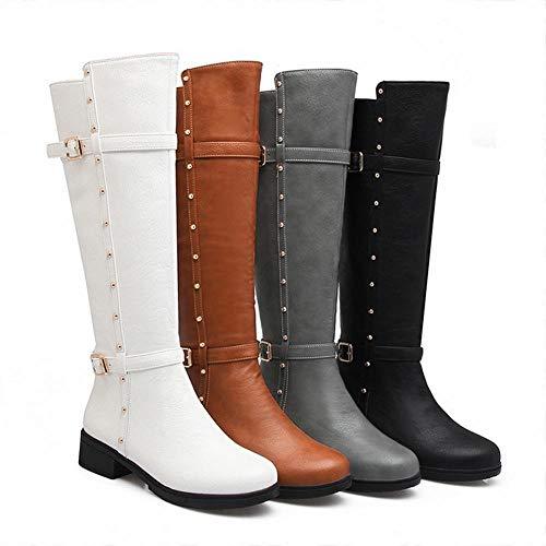 Elásticas Blanco Remache Zj 36 De botas La Cálido Mujer Rodilla Otoño Sobre E Tacón Bajo Botas Botas 43 Invierno Altas wHwqa