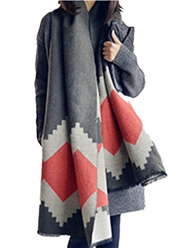 (Oversize Tassel Geometric Wool Blend Pashmina Long Scarf Shawl Blanket)