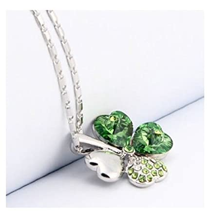AwesomeMall Promotion Women Laies Green Crystal Four Leaf Clover Pendant Necklace