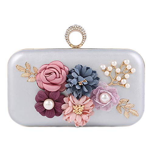 Clutch Wedding Evening Silver Handbag Bridal for Purse SLYlive Party Prom Women Flower Bag qtZnwSX