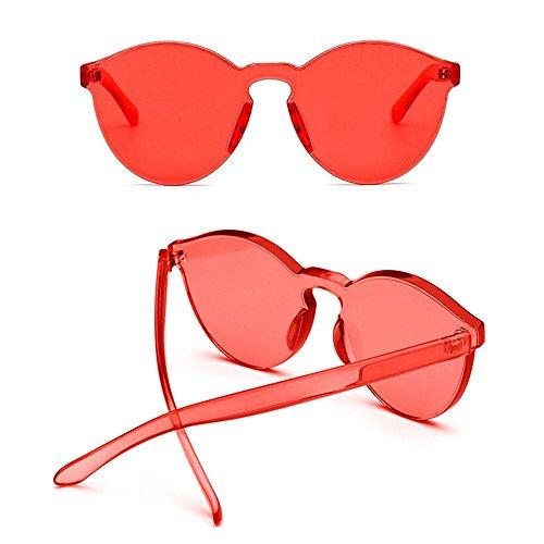 Gafas sin sol Transparente transparente unisex elegantes borde coloridas Rojo transparentes de Aolvo d1xnd