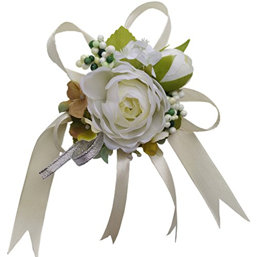 Steen Pack of 1 - Bridal Bridesmaid camellia Wrist flower Wrist Corsage - fleurs artificielles mini flowers (white) ()
