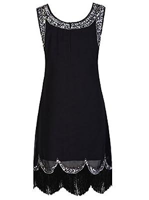 Vijiv Women's 1920s Vintage Embellished Sequin Beaded Flapper Evening Dress