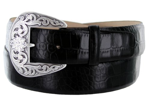 Calfskin Embossed Belt (Western Buckle Italian Alligator Embossed Calfskin Leather Belt 1-1/2