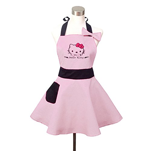 Lovely Hello Kitty Light Pink Retro Kitchen Aprons for Woman Girl Cotton Cooking Salon Pinafore Vintage Apron Dress for Christmas Gift (Hello Kitty Gifts)