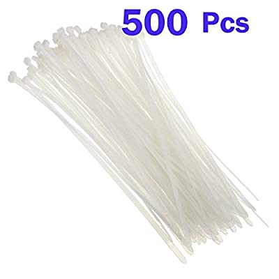 Nylon Cable Zip Ties - Heavy Duty Industrial Grade Wire Ties - 8 inch Length - Cable Tie Mounts - UL Certified - Perfect for Organizing Wires, Home & Office Use 500-Pack - White Plastic Ties
