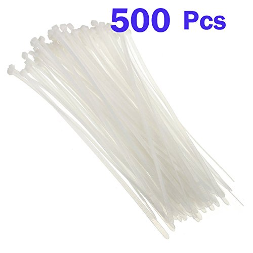 Nylon Cable Zip Ties - Heavy Duty Industrial Grade Wire Ties - 8 inch Length - Cable Tie Mounts - UL Certified - Perfect for Organizing Wires, Home & Office Use 500-Pack - White Plastic Ties from Conshine