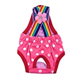 Minisoya Cute Dots Dog Physiological Shorts Puppy Diapers Pants Breathable Panties Pet Sanitary Underwear Briefs (Hot Pink, M)