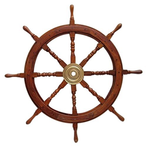 - Benzara Wooden Ship Wheel with Brass Hub and 8 Spokes, 36