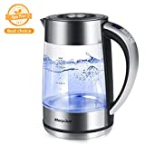 Electric Glass KettleTemperature Control, 1.7L Tea Kettle Cordless with LED Blue Light,Hot Water