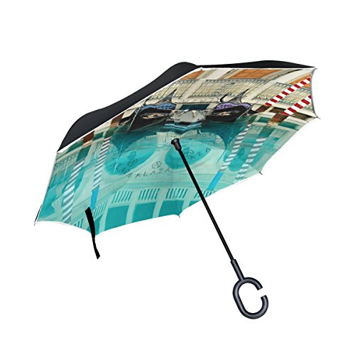 (LEISISI Italy Venice Water City Reverse Umbrella Inverted Double Layer Windproof UV Protection Reverse Folding Umbrellas Inverted Umbrella Travel Umbrella with C Shaped Handle)