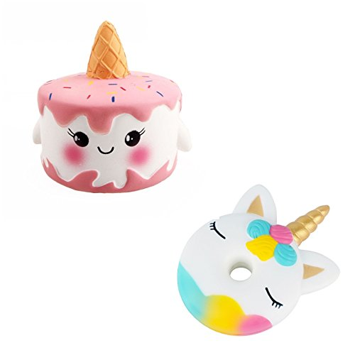 Lee store Jumbo Slow Rising Squishies Scented Squishy Squeeze Toy Reliever Stress Gift Toy (Unicorn Cake and Donut) -