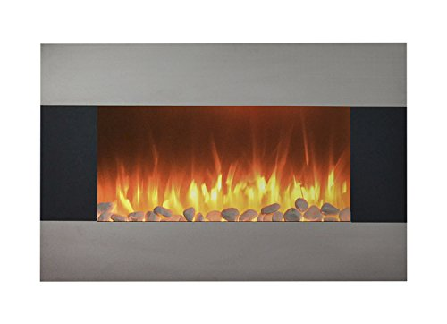 Northwest Stainless Steel Electric Fireplace with Wall Mount and Floor Stand and Remote, 36 Inch