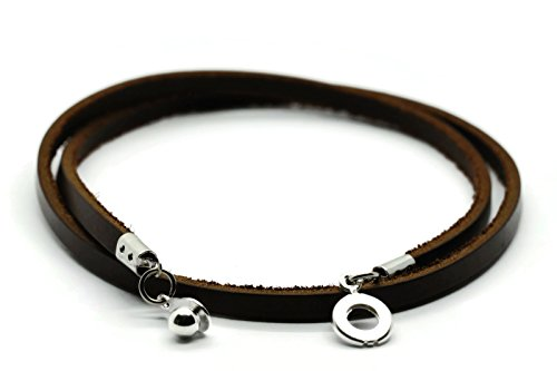 Brown Leather Surfer Necklace - BrownBeans, 4 mm Width, Casual Fashion, Brown Genuine Leather DIY Necklace (LNKT4001) (20 Inches)