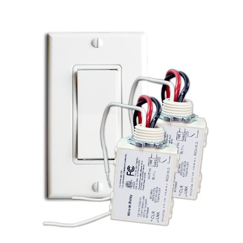 RunLessWire Two Receiver Wireless Switch Kit: Control two sconces, lights, or on/off devices with one switch. Self-powered switch installs in any location. One switch, two receivers. White. by RunLessWire