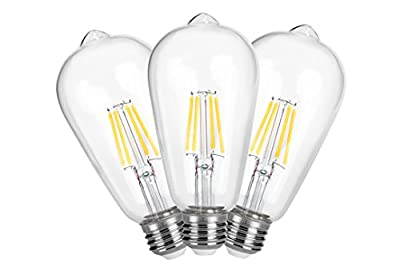 LED light Bulbs retro Style Edison Bulb 4W (40W incandescent equivalent) No Flicker No Glare E26 Base warm white ST64 antique modeling energy star ETL listed Non-Dimmable 3-pack