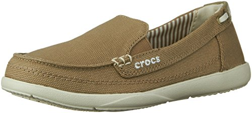 Crocs Women's Walu Canvas Loafer,Khaki/Stucco,7 W US