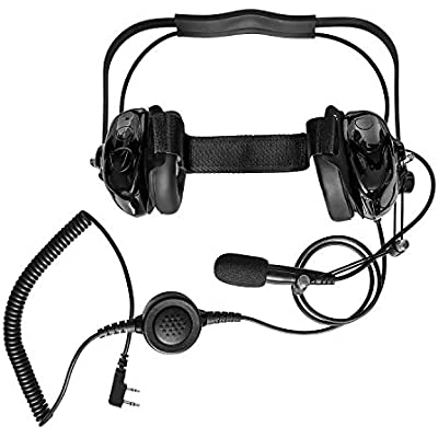 RadioRocket Two Way Radio Noise Cancelling Headset for Kenwood TK-2100 TK-2101 TK-2107 TK-2118 TK-2160 Baofeng BF-F8HP UV-5R