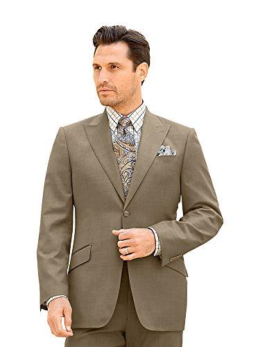 Super 120s Sharkskin Suit Jacket Tan 38 Regular ()