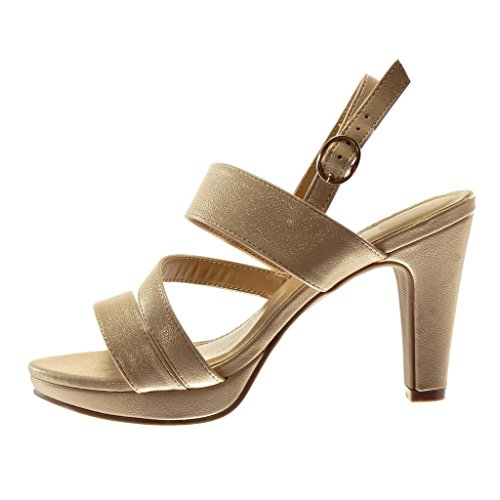 Angkorly Women's Fashion Shoes Sandals Mules - Platform - Ankle Strap - Thong Block High Heel 10 cm Champagne uSYbwv