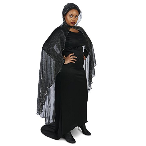 Black Mesh Spider Web Plus Cape with Hood