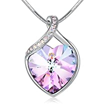 AngeladyLove GuardianHeart Pendant Necklace Crystal from Swarovski ,Gift for Women Birthday Anniversary