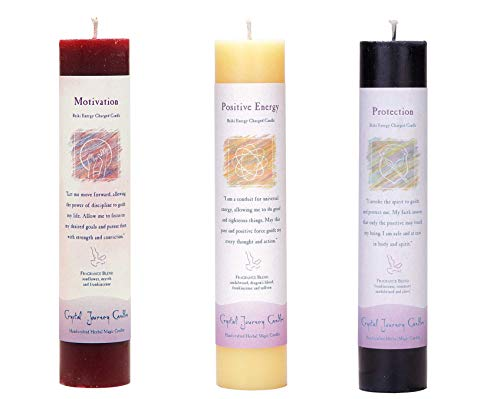 Crystal Journey Reiki Charged Herbal Magic Pillar Candle Bundle (Motivation, Positive Energy, Protection) (Crystals Pagan)