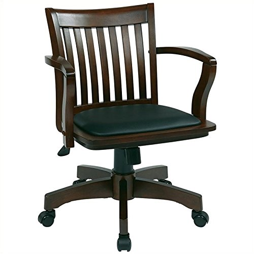 Pemberly Row Wood Banker's Office Chair with Vinyl Padded Seat in Espresso Espresso Vinyl Seat