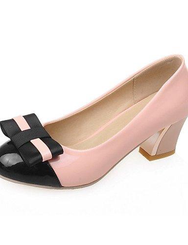 GGX/Damen Schuhe Patent Leder Sommer-/, Round Toe Heels Büro & Karriere/Casual Chunky Ferse bowknotblack/grün/pink/ black-us9.5-10 / eu41 / uk7.5-8 / cn42