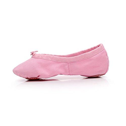 Baysa Frauen Leinwand Ballett Hausschuhe Split Sole Gymnastik Yoga Schuhe Rosa