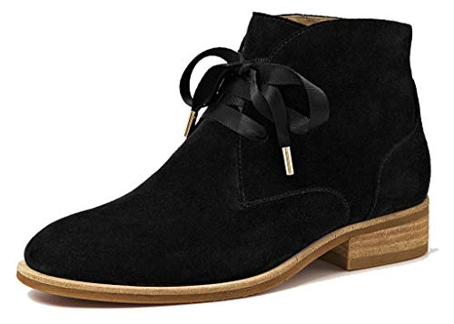 U-lite Womens Black Winter Classic Vintage Brogue Leather Chelsea Ankle Boots Women Booties 6