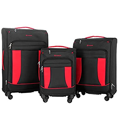 Travelhouse 3 Piece Softshell Deluxe Expandable Spinner Luggage Set
