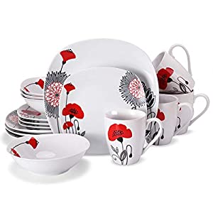 Doublewhale 16-Piece Dinnerware Set, Square Dinner Plates Dishes, Bowls, Dishes, Mugs Sets, Service for 4 – Red