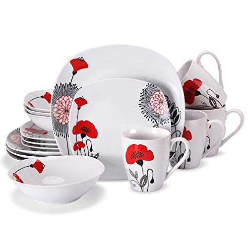 Doublewhale 16-Piece Dinnerware Set, Square Dinner Plates Dishes, Bowls, Dishes, Mugs Sets, Service for 4 - Red (Set Square 16 Piece Dinnerware)
