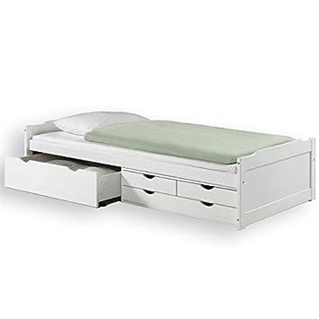 IDIMEX Lit Fonctionnel Avec Rangements ANDREA X Cm Pin - Lit avec rangement 90x200