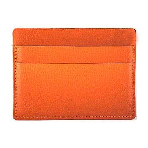 lusso di Pelletteria pelle credito di a vitello arancia Cb di grana carte banche Francia Porta vwqYwBSxR