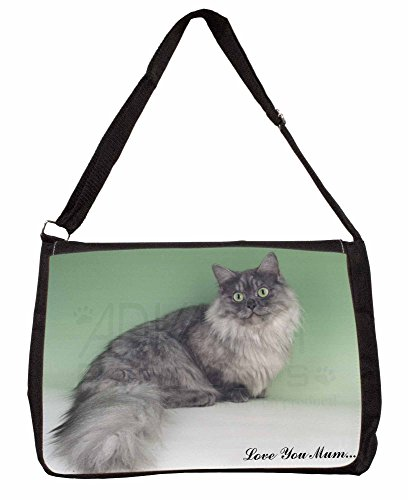 Munchkin Cat Love You Mum Large 16 Black School Laptop Shoulder Bag