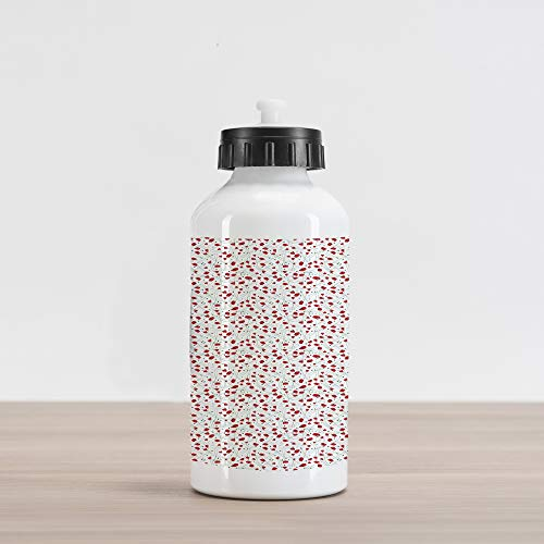 Ambesonne Poppy Aluminum Water Bottle, Overlapping Flowers with Thin Long Stems and Plucked Petals Romantic Artwork, Aluminum Insulated Spill-Proof Travel Sports Water Bottle, Red Black and Green